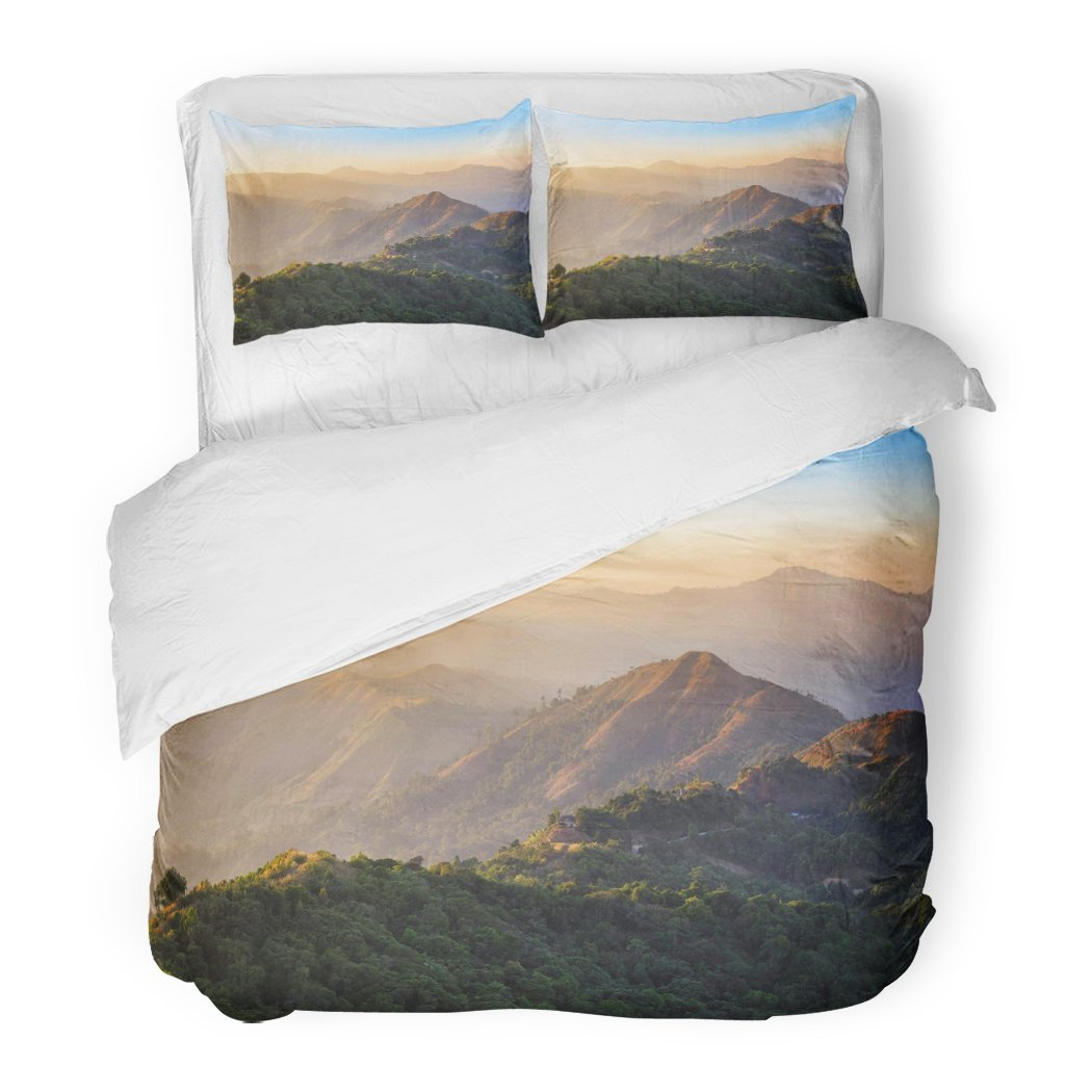 SanChic Duvet Cover Set High Angle Viewpoint Sunset Over Rainforest Mountains at Border Between Thai Myanmar Ban I Tong Pilok Decorative Bedding Set with 2 Pillow Shams Full/Queen Size by SanChic
