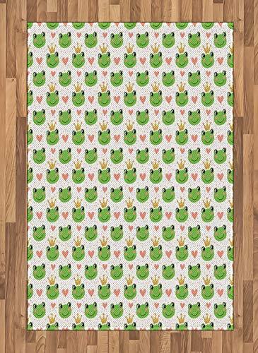 Lunarable Prince Area Rug, Cartoon Hearts Crown and Frogs Fairy Tale Nursery Illustration with Dots, Flat Woven Accent Rug for Living Room Bedroom Dining Room, 4 x 5.7 FT, Green ()