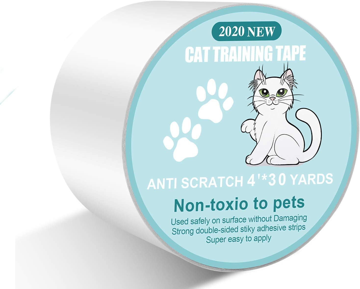 "4"" X 30 Yards Anti Cat Scratch Deterrent Tape - Sticky Paws Tape for Cats,100% Transparent cat Double Sided Tape,Cat Training Tape Furniture Protectors for Couch,Sofa,Door"