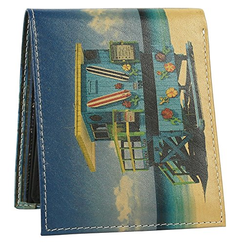 Lifeguard Surf Shop Wallet - Bifold Trifold Artisan Leather Wallets for Men With 2 ID Windows - Durable Designs and Graphics