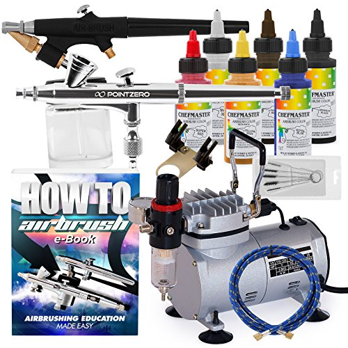 PointZero Cake Airbrush Decorating Kit - 2 Airbrushes, Compressor, and 6 Chefmaster Colors