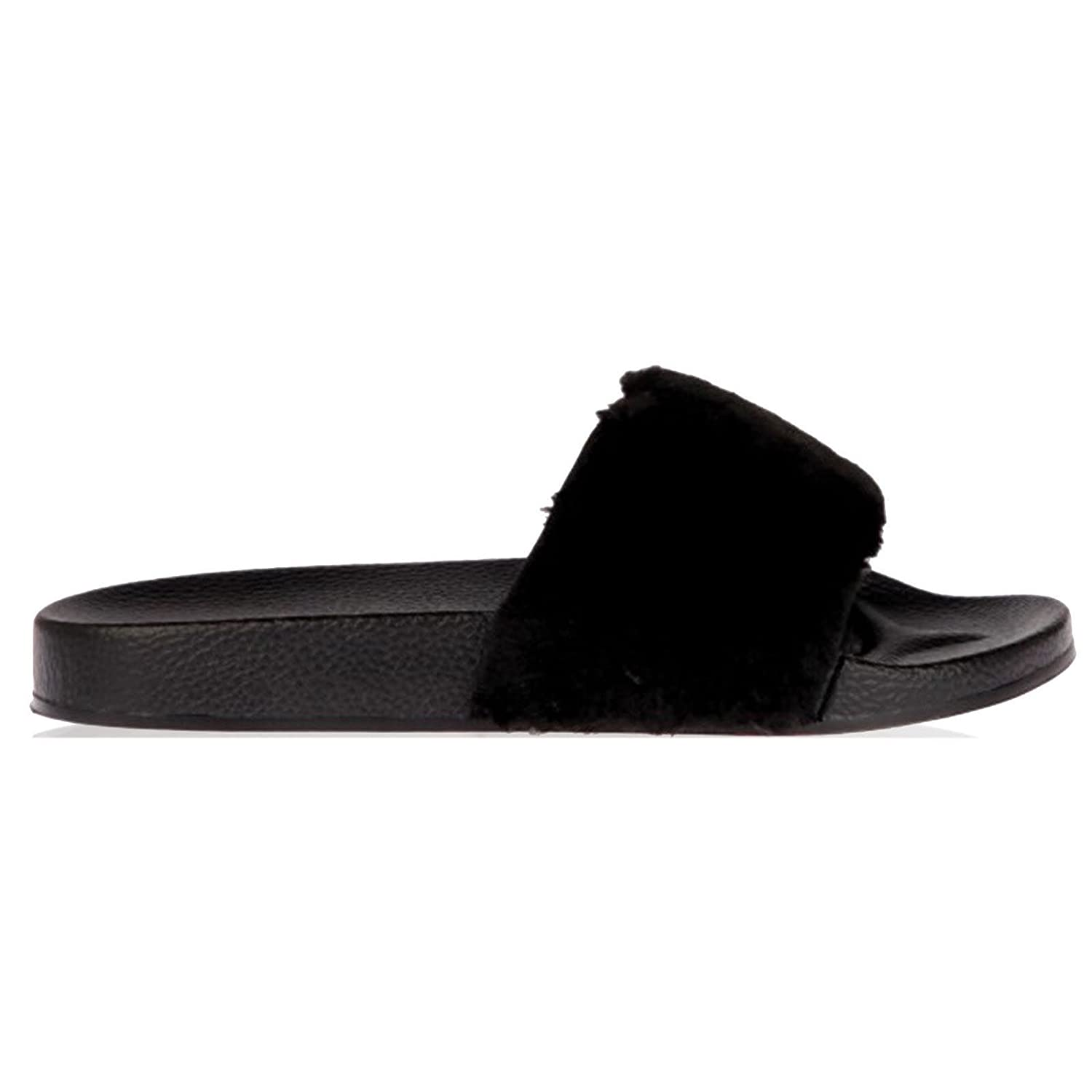 6cc8b6252f0f Womens Slip On Flat Farrah Rubber Slider Mules Fur Slipper Sandals Shoe   Amazon.co.uk  Clothing