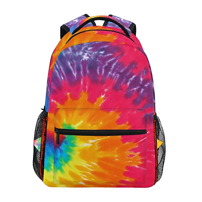 XMCL Tie Dye Durable Backpack College School Book Shoulder Bag Travel Daypack for Boys Girls Man Woman