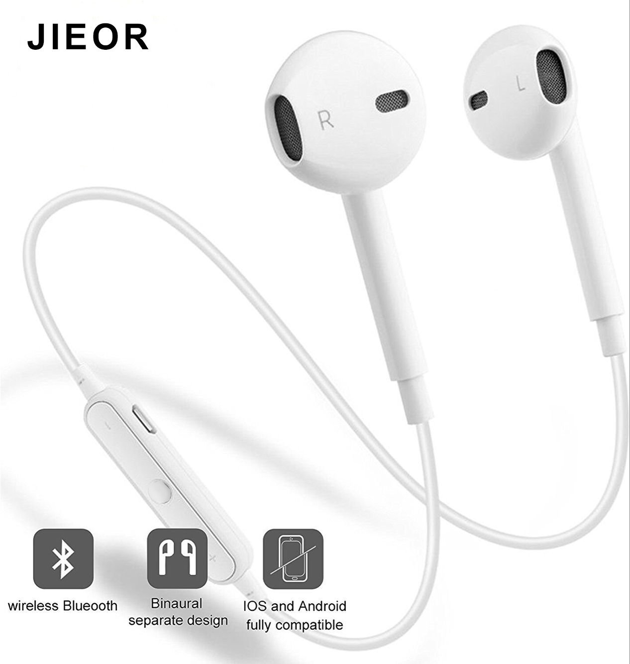 JIEOR Bluetooth Headphones,Wireless Headphones Bluetooth V4.2 Earbuds with Mic Stereo Earphones Noise Cancelling Sweatproof Sports Headset for iPhone X 8 7 Plus Samsung Galaxy S7 S8 S9 and Android by JIEOR