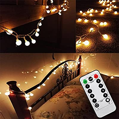 [Updated Version] 16 Feet 50leds Bedroom Globe LED String Lights Battery Powered with Remote Timer Outdoor Indoor Mood Lighting for Garden, Wedding, Party, Patio, Living Room (Warm White, Dimmable)