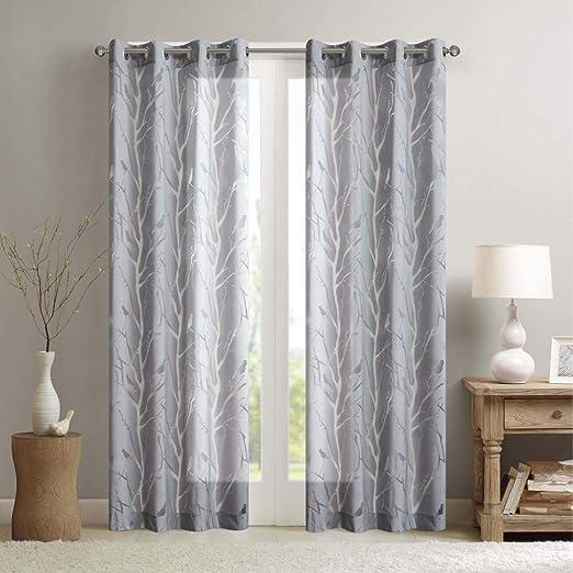 1Pieza 63 gris Color Sheer pájaro cortina de ventana solo Panel, poliéster, gris Color pájaro patrón