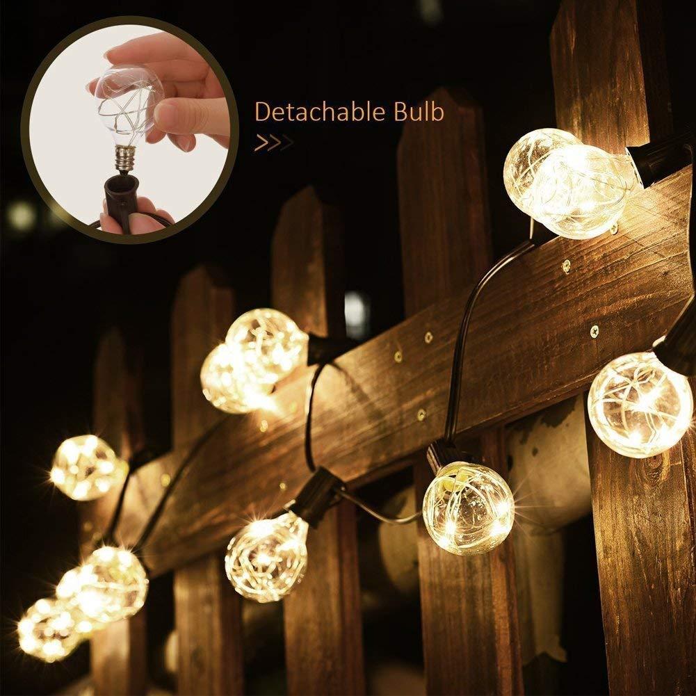 B-right Guirnalda Luces Exterior G40, 10M 30 Bombillas LED, Blanco Cálido, Impermeable, Cadena de Luces Bombillas G40 para Jardín, Patio, Terraza, Boda, ...
