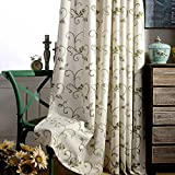 Anady Top 2 Panels/Pair Cream White Drapes, Natural Polyester Linen Abstract Green Swirl Leaf Embroidery Thermal Insulated Blackout Lined Curtains,Each Panel 50W by 84L-Inch(Grommet Top)