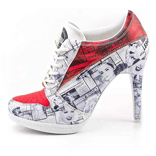 0f9f9060836bef MISSY ROCKZ Bequeme Sneaker High Heels Damenschuhe Cover UP weiß rot mit 10