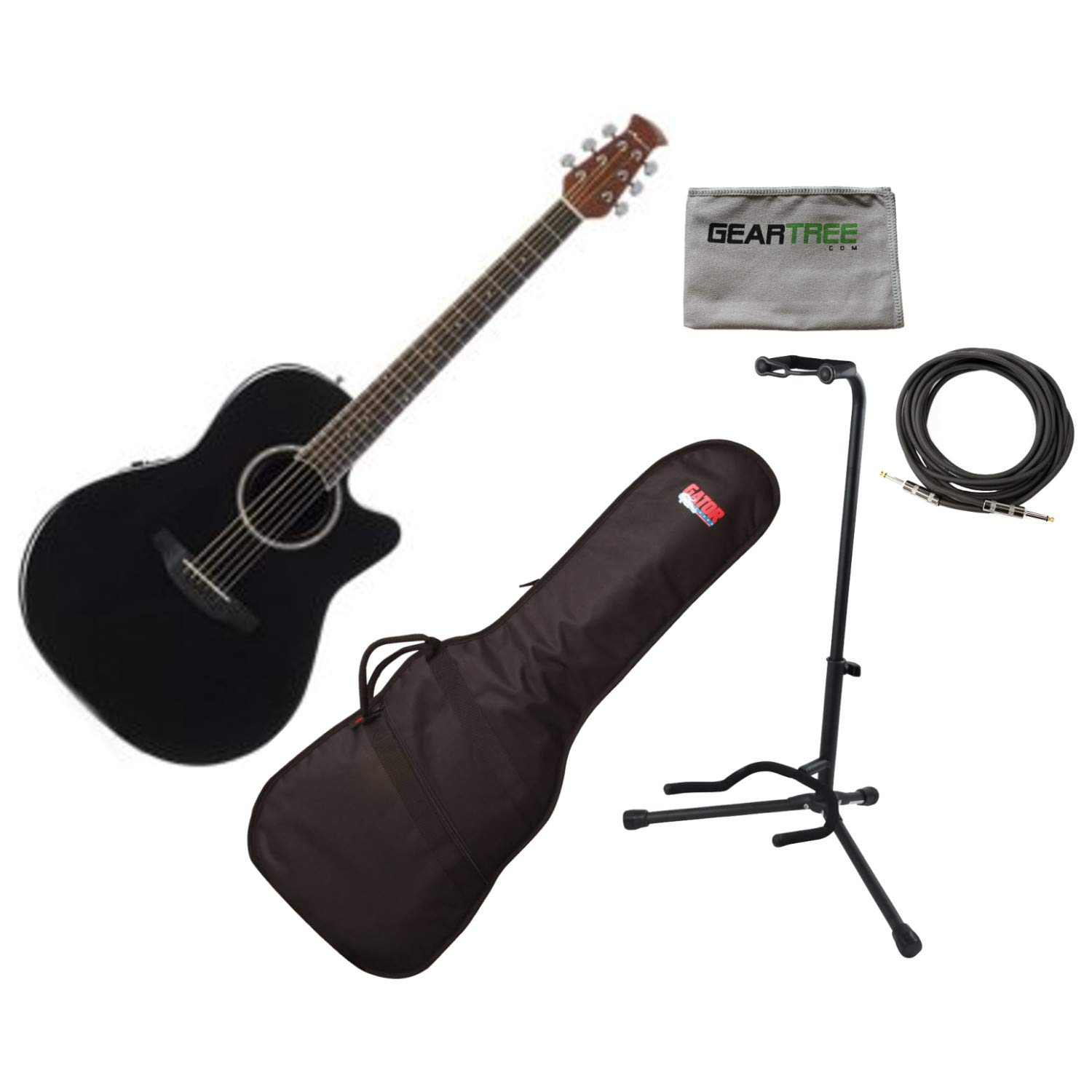 Ovation AB24II-5 Acoustic Electric Guitar, APPLAUSE STD MID, BLACK w/Gig Bag, by Ovation