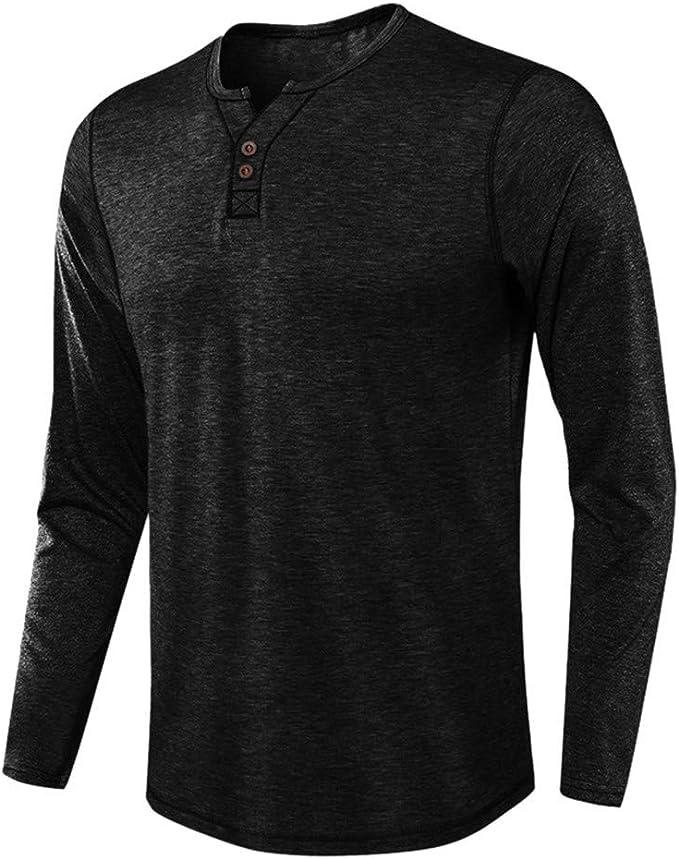 Camisa para Hombre de Yonsin, de algodón Monocolor y Lino, para el ...