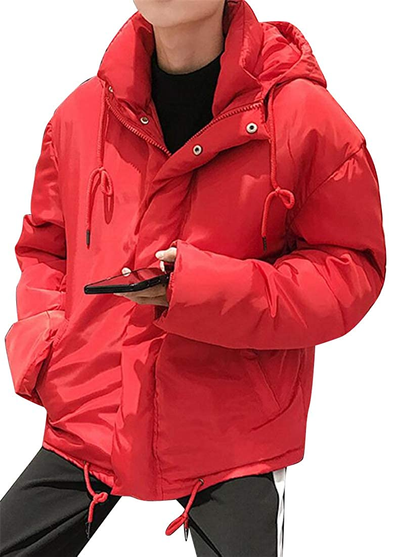 SHOWNO Mens Thicken Hoodie Quilted Couples Dress Pure Color Warm Relaxed Fit Winter Down Coat
