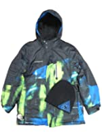Zero Xposur Boy Black Green Blue Jacket Winter Snowboard Coat Beanie