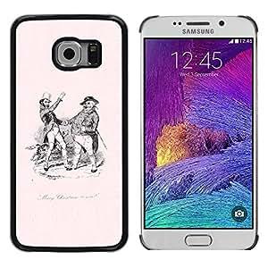 iKiki Tech / Estuche rígido - Old Black White Pink 19 Century - Samsung Galaxy S6 EDGE SM-G925