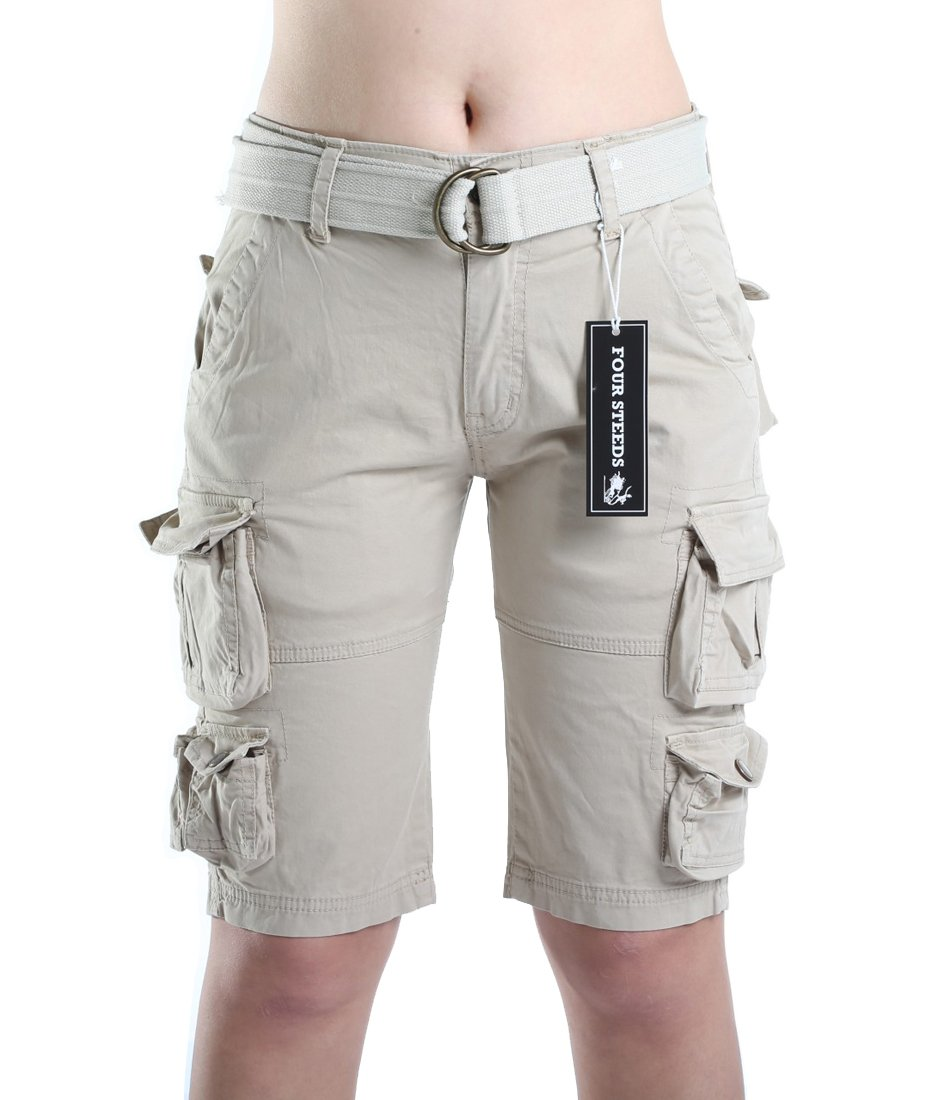FOURSTEEDS Women's Cotton Butt Lift Multi-Pockets Camouflage Casual Twill Bermuda Cargo Shorts with Belt Light Khaki US 8 by FOURSTEEDS (Image #3)