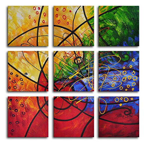 Stained Glass 9-Piece Hand Painted Wall Art