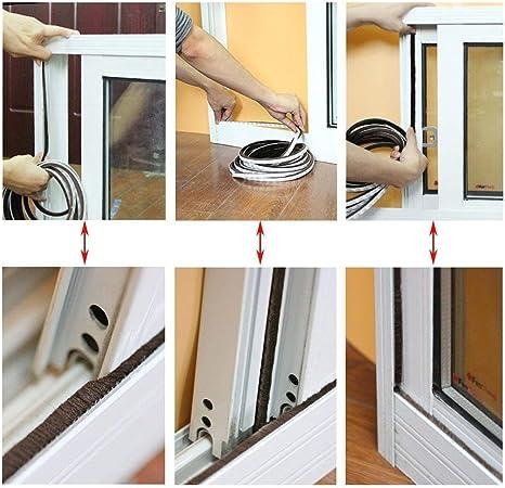 ZWOOS Autoadhesivo Burlete Adhesivo con Cepillo para Puertas y Ventanas, 2pc Marrón Soundproof Seal Strip Espacios de 4.5 mm - 7.5 mm (2 * 5M): Amazon.es: Bricolaje y herramientas