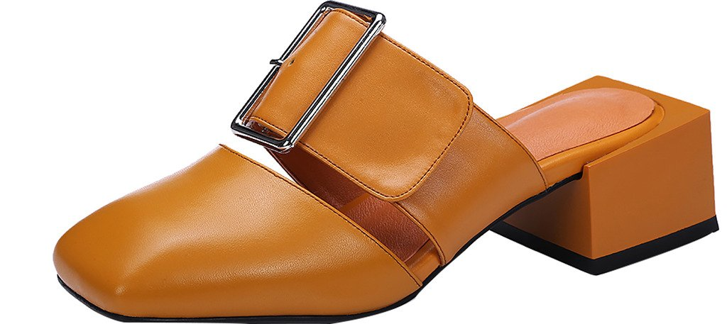 Calaier Mujer Caworst Bloquear 4CM Cuero Ponerse Zuecos Zapatos 45|Marrón