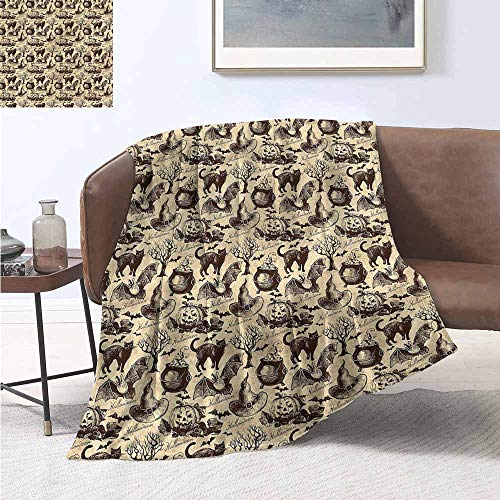 HCCJLCKS Hypoallergenic Blanket Vintage Halloween Black Cat Motif Super Soft W60 xL91 Traveling,Hiking,Camping,Full Queen,TV,Cabin -