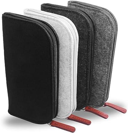 YuCool - Juego de 4 estuches de fieltro para lápices, con cremallera, para guardar llaves, utensilios de papelería, maquillaje, organizador, color negro, gris, gris oscuro y blanco: Amazon.es: Oficina y papelería