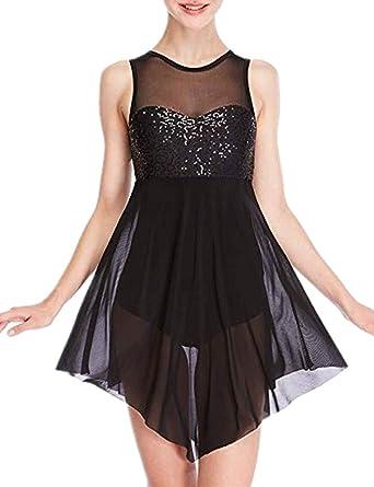FEESHOW Women Girls Lyrical Dance Costume Dress Illusion Sweetheart Sequins  Trianglar Criss Cross Back Skirt Black 268890eca47d