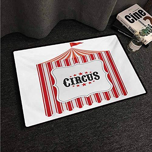 HCCJLCKS Interesting Doormat Circus Circus Tent Flagpole Classic Festival Childish Joy Leisure Theme Art Print Easy to Clean Carpet W16 xL24 Orange Charcoal Grey