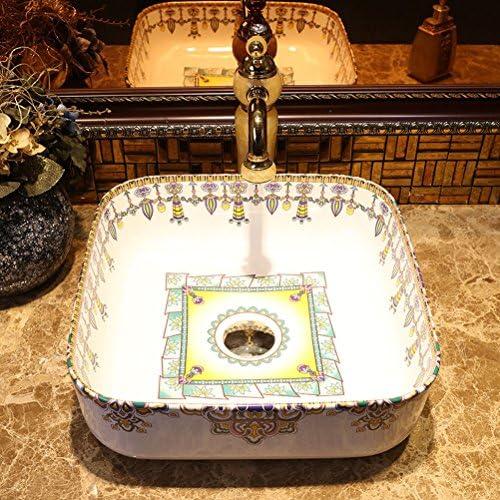 Minmin 浴室の流しの正方形の洗面器の芸術の洗面器の方法洗面器の蛇口が付いている陶磁器の洗面器、39.5X39.5X14cm 芸術流域