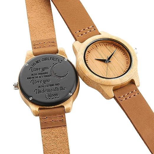 Reloj de Madera de Cuarzo Natural Hecho a Mano para Mujer, Correa de Cuero, Reloj de Madera para Mujer, Novia: Amazon.es: Relojes