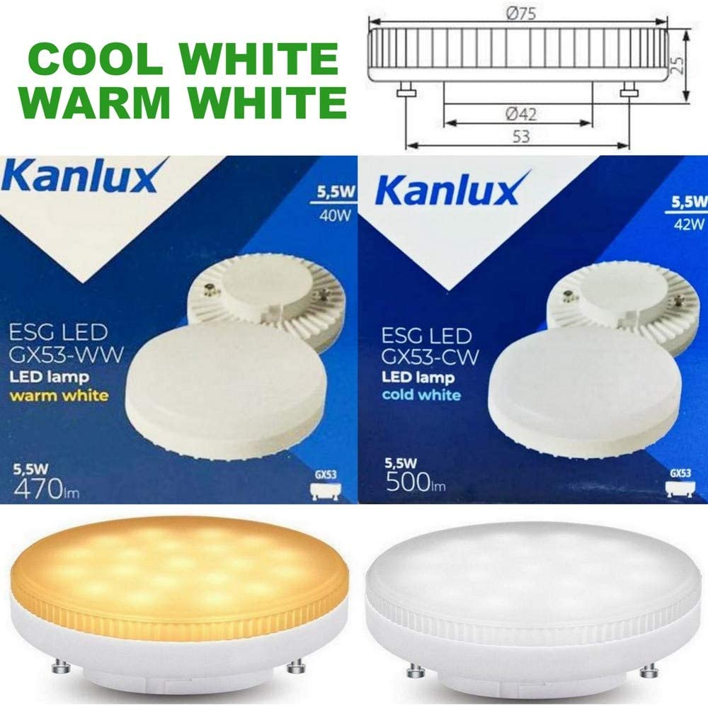 5w Gx53 Led Lamp Daylight Cool White 6000k 3000k Kitchen Under Cabinet Lighting Replacement Light Bulb Gx 53 Round Disc Style 240v Direct Replacement Cfl 9w 7w 13w Lamps Warm White