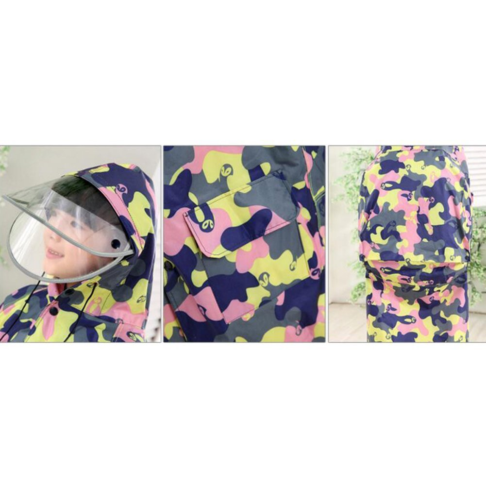 Yellow Camouflage Highdas Kinder Tarnung Poncho mit gro/ßem Hut und Schulranzen Platz Baby-Regenmantel 8-11Y XL