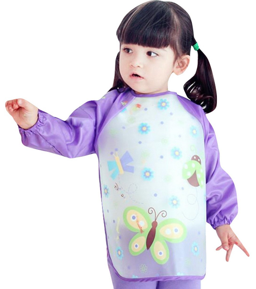Happy Cherry Child Cartoon Waterproof Artists Painting Smock Clothes Baby Feeding Eating Aprons,Butterfly
