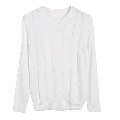 3541460ad7d2 Carolilly Chic Pull Femme Hiver Chaud Tressé en Laine Manches Longues Blanc  Gris