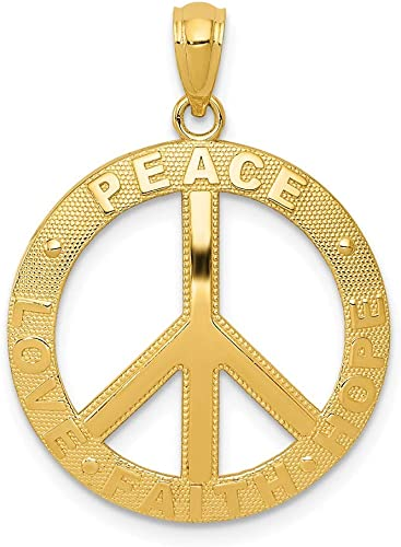 15mm x 10mm Mia Diamonds 14k Solid Yellow Gold Polished Peace Symbol Pendant