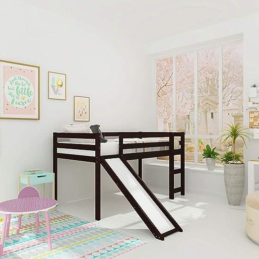 Harper & Bright Designs - Cama Doble de Madera para niños con Escalera y tobogán, Marco de Cama de Perfil bajo, no Necesita somier.: Amazon.es: Juguetes y juegos