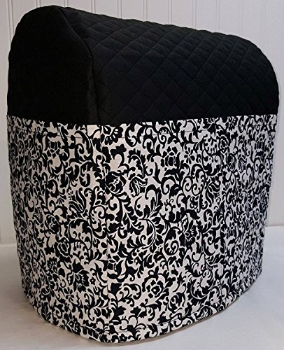 Black & White Floral Damask Kitchenaid Lift Bowl Stand Mixer Cover (Black)