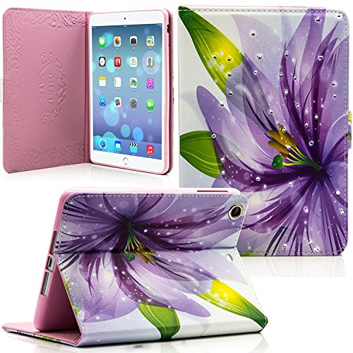 iPad Mini 4 Case, Dteck(TM) Bling Diamond Design Flip Stand Case Cover with [Auto Wake/Sleep Function] for Apple iPad Mini 4 (2015 Released) 7.9 Inch iOS Tablet (01-Lily Flower)