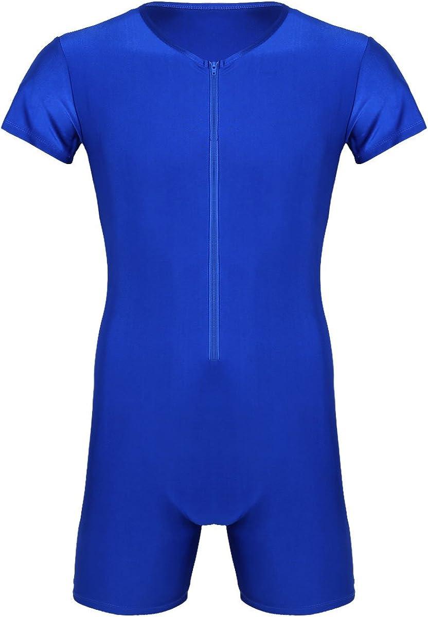 TSSOE Adult Mens Lycra Spandex Short Sleeve Unitard Bodysuit Sports Workout Biketard