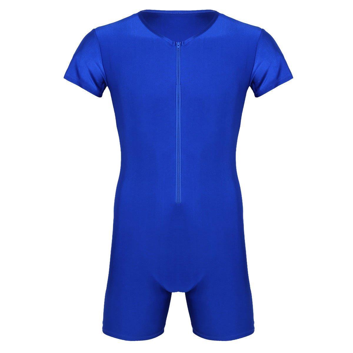 Yeahdor Men's Lycra Spandex Short Sleeve Bodysuit Leotard Wrestling Singlet Thongs Underwear Boxer Briefs Blue Medium by Yeahdor