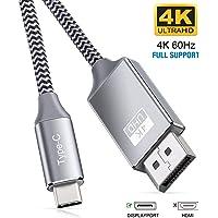 Cable USB C a DisplayPort de 4 K a 60 Hz (2 K a 165 Hz, 1080 p a 144 Hz), Highwings de alta velocidad Thunderbolt 3 puerto a DisplayPort compatible con MacBook Pro/Air 2020, iPad Pro 2018, Galaxy S20, S10/S9, más