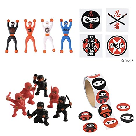 Just4fun - 220 pc Ninja Warrior Party Favors - 72 Tattoos - 24 Figures - 24 Wall Crawlers & 100 Stickers - Martial Arts - Karate Classroom Prizes