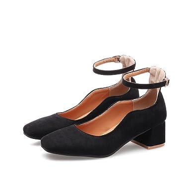 CXQ-Heels QINX Womens Square Toe Block High Heels Flache Mund Prom Schuhe Pumps