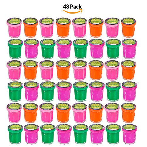 Price comparison product image Bulk Pack Of 48 ! Mini Noise Putty Containers Assorted Neon Rainbow Colors, Party Favor, Treat Goody Pack, Party Prank. - By Bedwina