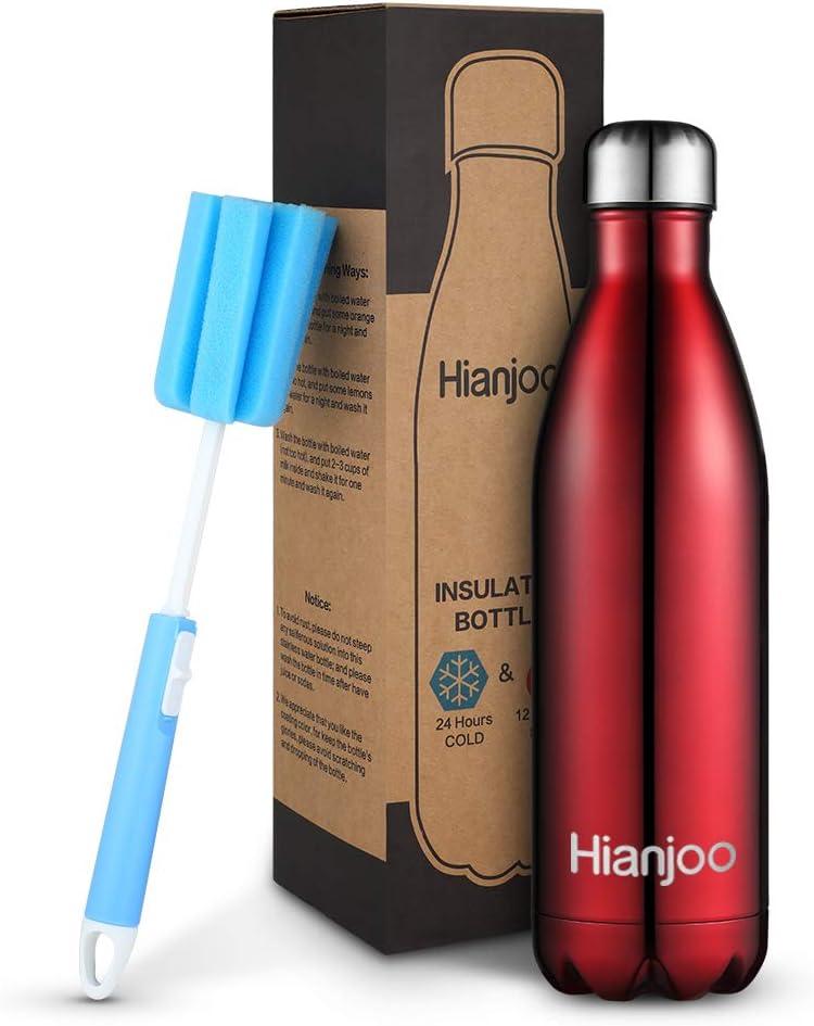 Deportes al Aire Libre Botella Agua Acero Inoxidable con Doble Pared Aislada al Vac/ío Botella Aluminio Botella t/érmica para Bebidas fr/ías y Calientes Hianjoo 1000 ML Aislado Botella de Agua