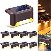 swonuk Luces de Cubierta Solar ,8 Piezas Resistente al Agua LED Luz de Escaleras Solar Lámpara Exterior Luces Deck…