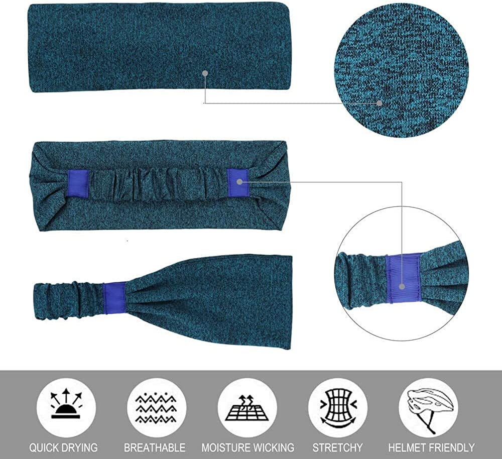 5 Pack - Lightweight Stretchy Moisture Wicking Sweatbands for Running Yoga Workout Headbands for Women comfortable Sports Headbands fits All Women and Men Fitness