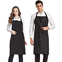 HOPESHINE 2-Pack Plus-Size Aprons for Men and Women with Pockets Water Resistant Adjustable Kitchen Aprons Dish Washing Grooming Chef Aprons