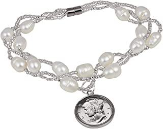 product image for White Cultured Freshwater Pearl Mercury Dime Coin Bracelet
