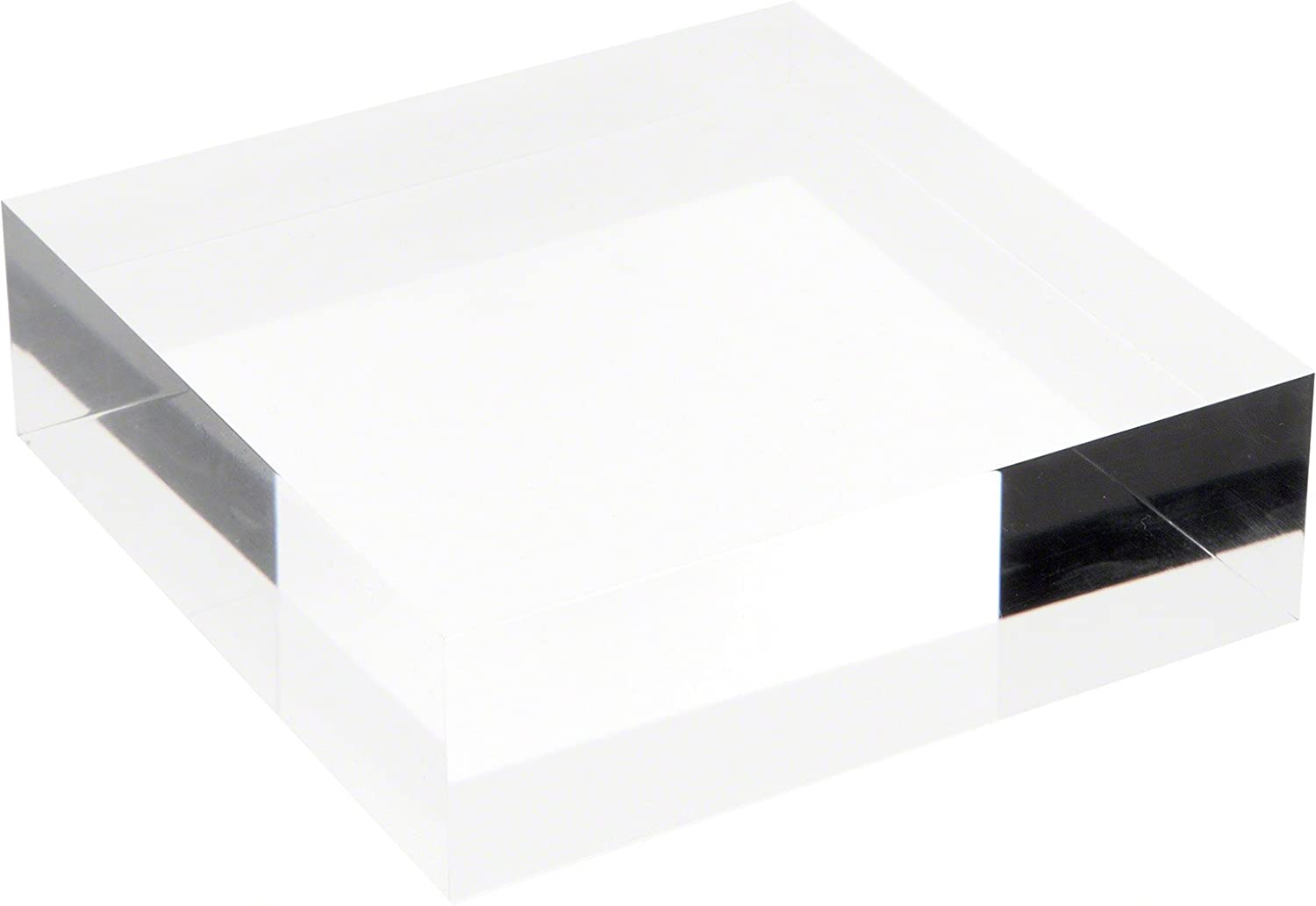 Plymor Clear Polished Acrylic Square Display Block, 1.5 H x 6 W x 6 D