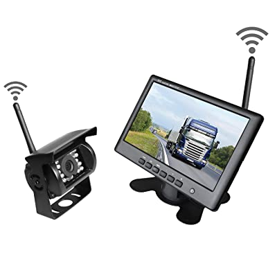 "WHOLEV Wireless Vehicle Backup Camera and Monitor System Kit Rear View Camera Support Night Vision IP67 Waterproof & 7"" Monitor for Rv/Truck/Trailer/Bus/Pickup/Van: Car Electronics"