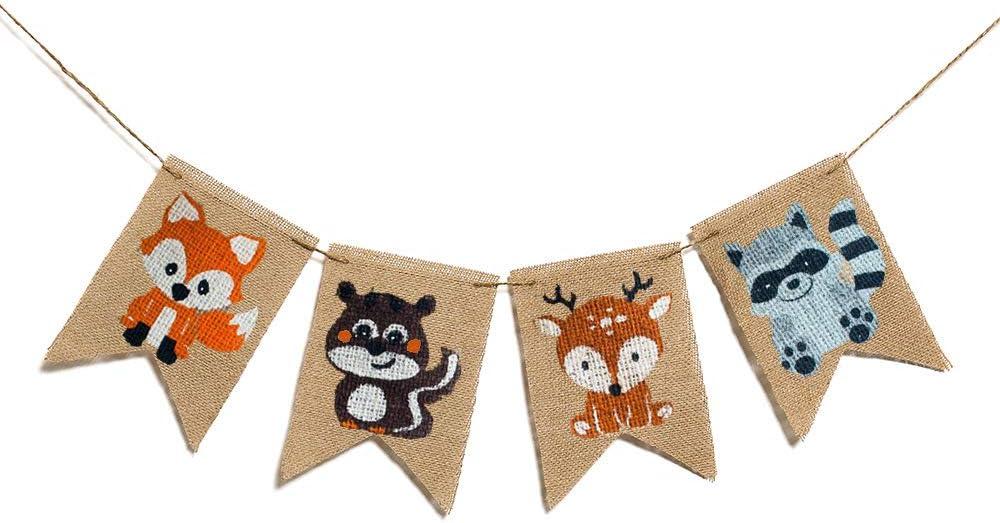 Animals Burlap Banner Woodland Baby Shower Decoration ,Fox Squirrel Deer Raccoon Kids Birthday Party Decoration